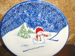 Click here to enlarge image and see more about item tpcs1k: Thomson Snowman Dinner Plate