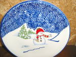 Click here to enlarge image and see more about item tpcs2p: Thomson Snowman Salad Plate