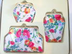 Click here to enlarge image and see more about item vcoset2e: Vintage Floral Cosmetic Bag Purse Set