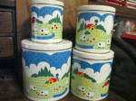 Click here to enlarge image and see more about item vmetcb2b: Vintage Country Sheep Farm Canister Set