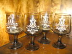 Click here to enlarge image and see more about item xpbvg1g: Pfaltzgraff Amber Brown Village Goblet Set