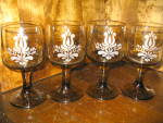 Click here to enlarge image and see more about item xpbvg3g: Pfaltzgraff Amber Brown Village Stem Wine Glasses