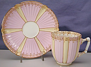 Aynsley pink & yellow demi-tasse cup & saucer (Image1)