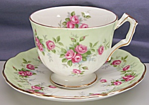 Aynsley Pale Green With Roses Cup & Saucer