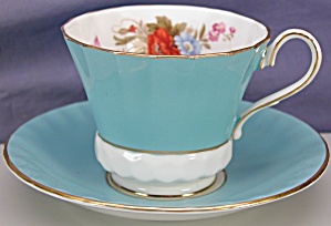 Aynsley Blue W/ Floral Bouquet Cup & Saucer
