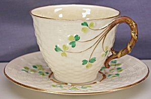Belleek 2bm Tall Shamrock Basket Weave C&s
