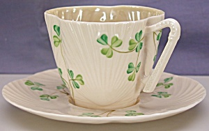 Belleek Harp Shamrock 3rd black mark c&s (Image1)