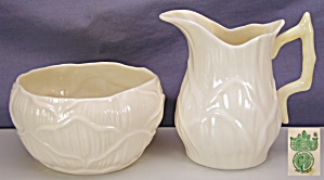 Belleek 'lily' Creamer & Sugar - 2nd Gm