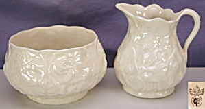 Belleek 'Lotus' creamer & sugar - 3rd BM (Image1)