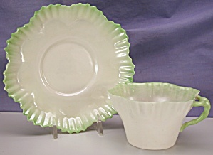 Belleek Hexagon Form C&s Green Tint 2nd Bm