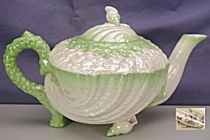 Belleek Neptune green tint Teapot (2BM) (Image1)