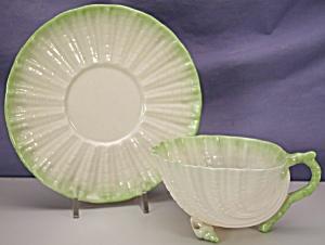 Belleek Neptune green tint cup & saucer (2BM) (Image1)