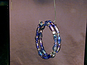 Blue Iris Lampwork Glass Bangle Bracelet (Image1)