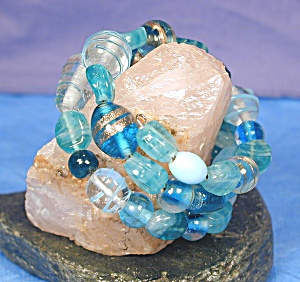 Shades of Aqua Lampwork Glass Wrap Bracelet (Image1)