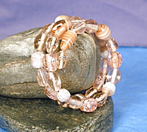 Shades Of Pink Lampwork Glass Wrap Bracelet