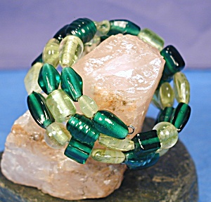 Shades Of Peridot & Emerald Lampwork Glass Wr