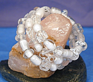 Shades of White Lampwork Glass Wrap Bracelet (Image1)