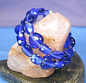 Cobalt Hearts & Polka Dots Lampwork Glass