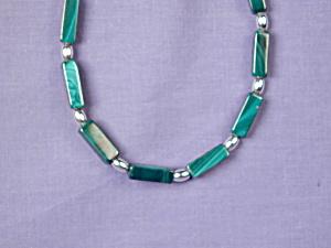 Malachite Rectangles & S Silver bracelet (Image1)