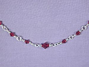 Swarovski Garnet bicones & SS bracelet (Image1)