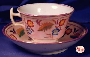 Pink luster ware cup & saucer (Image1)