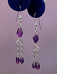 Amethyst Flat Diamond & SS earrings (Image1)