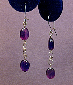 Amethyst Ovals & SS figure 8 earrings (Image1)