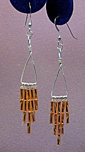 SS Triangle & Gold Twisted Bugle Bead Dangles (Image1)