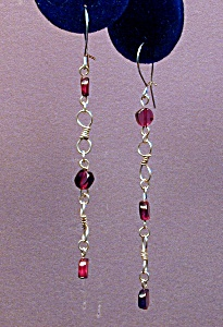 Garnet Coin & SS figure 8 Drop Earrings (Image1)
