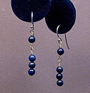Natural Lapis Lazuli & SS Wrapped Loop drops (Image1)