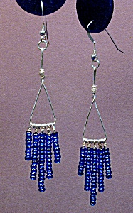SS Triangle & Cobalt Seed Bead Dangles (Image1)