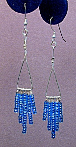 SS Triangle & Aqua Blue Seed Bead Dangles (Image1)