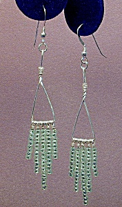 SS Triangle & Peridot Green Seed Bead Dangles (Image1)