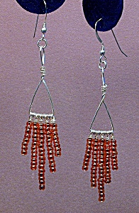 Ss Triangle & Copper Seed Bead Dangles