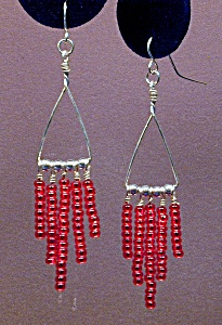 SS Triangle & Ruby Red Seed Bead Dangles (Image1)