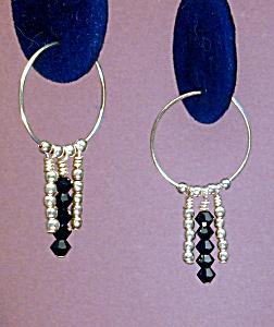 Swarovski Jet & SS Hoop earrings (Image1)