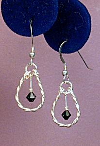 Swarovski Jet & Twisted SS earrings (Image1)