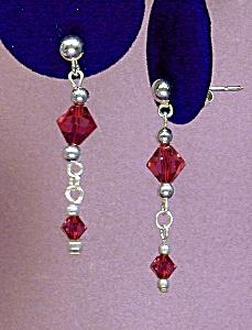 Swarovski Garnet & SS Drop Earrings (Image1)