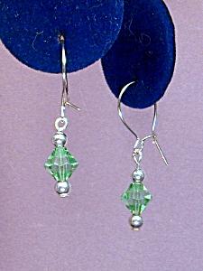 Swarovski Peridot Bicone & SS earrings (Image1)