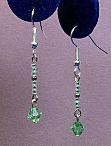 Swarovski Peridot bicone & seed bead earrings (Image1)