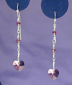 SS & Swarovski Amethyst Hearts earrings (Image1)