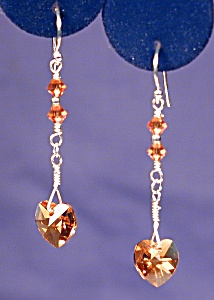 Ss & Swarovski Topaz Hearts Earrings