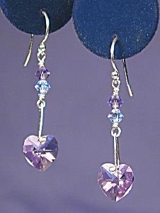 SS & Swarovski Violet Heart earrings (Image1)