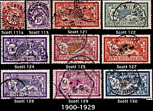 France Issue 1900-1929 Sc#111-130