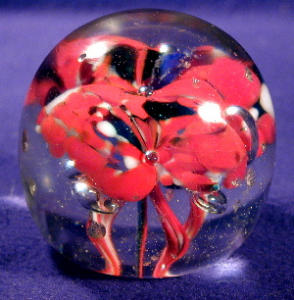 Sprouting Red Flowers Glass Paperweight