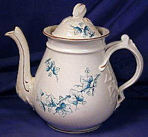 White teapot with green transfer leaves (Image1)
