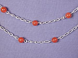 Carnelian & SS Link necklace (Image1)