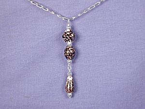 Dalmation Lamp Work Glass & SS Chain Necklace (Image1)