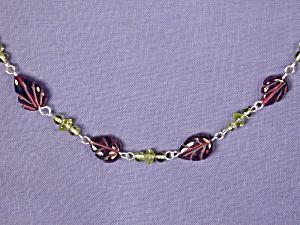 Carved Garnet Leaf & Peridot Necklace (Image1)