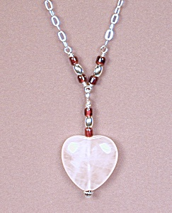 SS & Garnet Necklace w/Rose Quartz Heart (Image1)